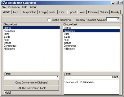 A Simple Unit Converter 0.9.9.00 screenshot