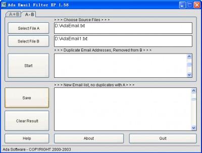 Ada Email Filter XP 1.58 screenshot