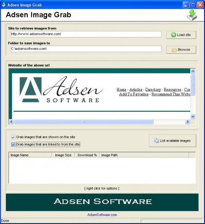 Adsen Image Grab 1.2 screenshot