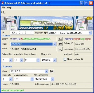 Advanced IP Address Calculator 1.1 screenshot