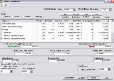 APSW Watt-U-Use 1.0.0.20 screenshot