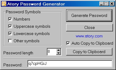 Atory Password Generator 1.2 screenshot