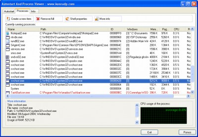 Autostart and Process Viewer 1.41 screenshot