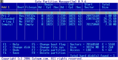 Cute Partition Manager 0.9.8 screenshot