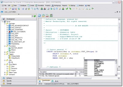 DreamCoder for Oracle Free Edition 3.0.2.5 screenshot
