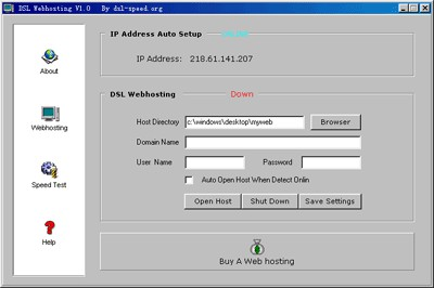 DSL Web Hosting 2.8 screenshot