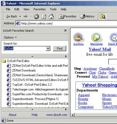 DzSoft Favorites Search 2.1 screenshot