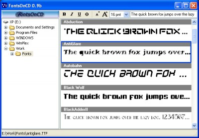 FontsOnCD 0.9b screenshot