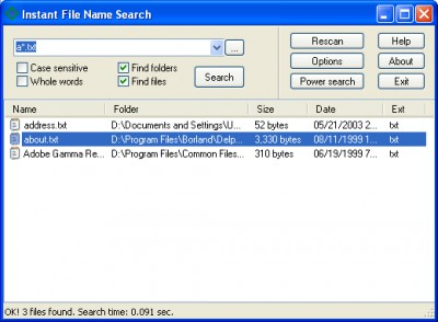Instant File Name Search 1.8 screenshot