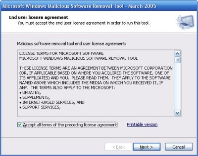 Microsoft Malicious Software Removal Tool 1.27 screenshot