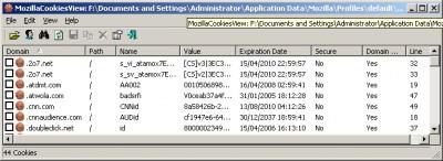 MozillaCookiesView 1.50 screenshot