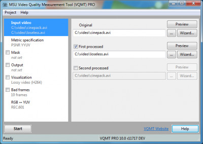 MSU Video Quality Measurement Tool 8.0 screenshot