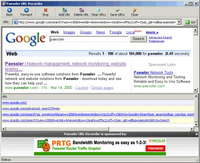 Paessler URL Recorder 1.0 screenshot