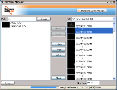 PSP Video Manager 1.1.14.101 screenshot