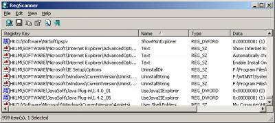 RegScanner 1.40 screenshot