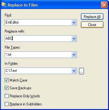Replace in Files 1.01 screenshot