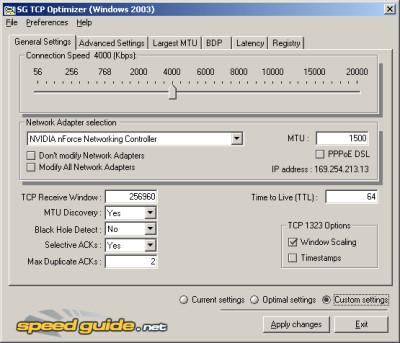 TCP Optimizer 4.0.6 screenshot