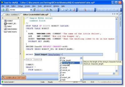 TOAD for MySQL 2.0.1 screenshot