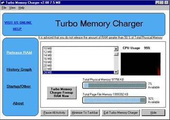 Turbo Memory Charger 2.12 screenshot
