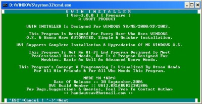 UWin Installer 3.0.0 screenshot