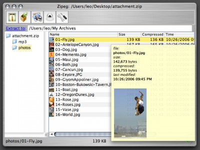Zipeg 1.3.0 screenshot
